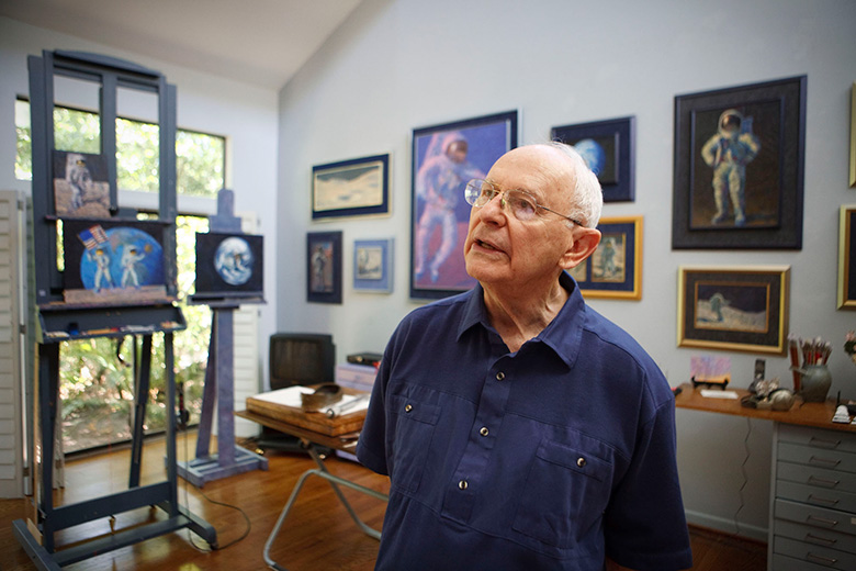 Former NASA Astronaut Alan bean at his home in Houston in 2009